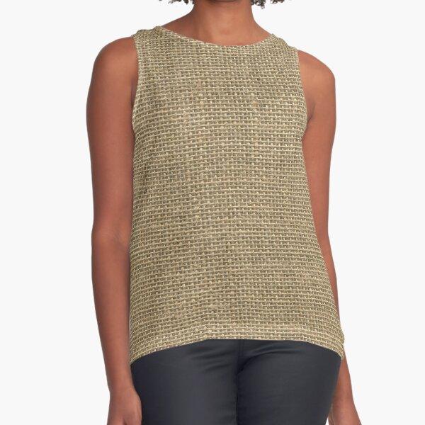 Natural Woven Beige Burlap Sack Cloth Sleeveless Top