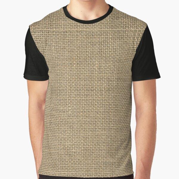 Natural Woven Beige Burlap Sack Cloth Graphic T-Shirt