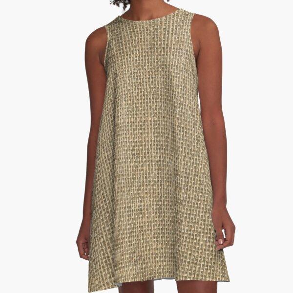 Natural Woven Beige Burlap Sack Cloth A-Line Dress