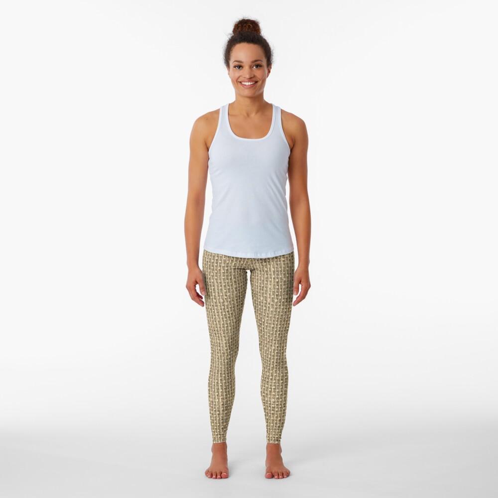 Natural Woven Beige Burlap Sack Cloth Leggings
