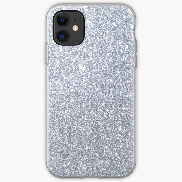 Silver Metallic Sparkly Glitter  iPhone Soft Case