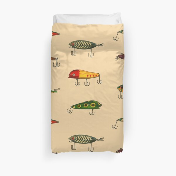 Vintage Fishing Lures Pattern Duvet Cover