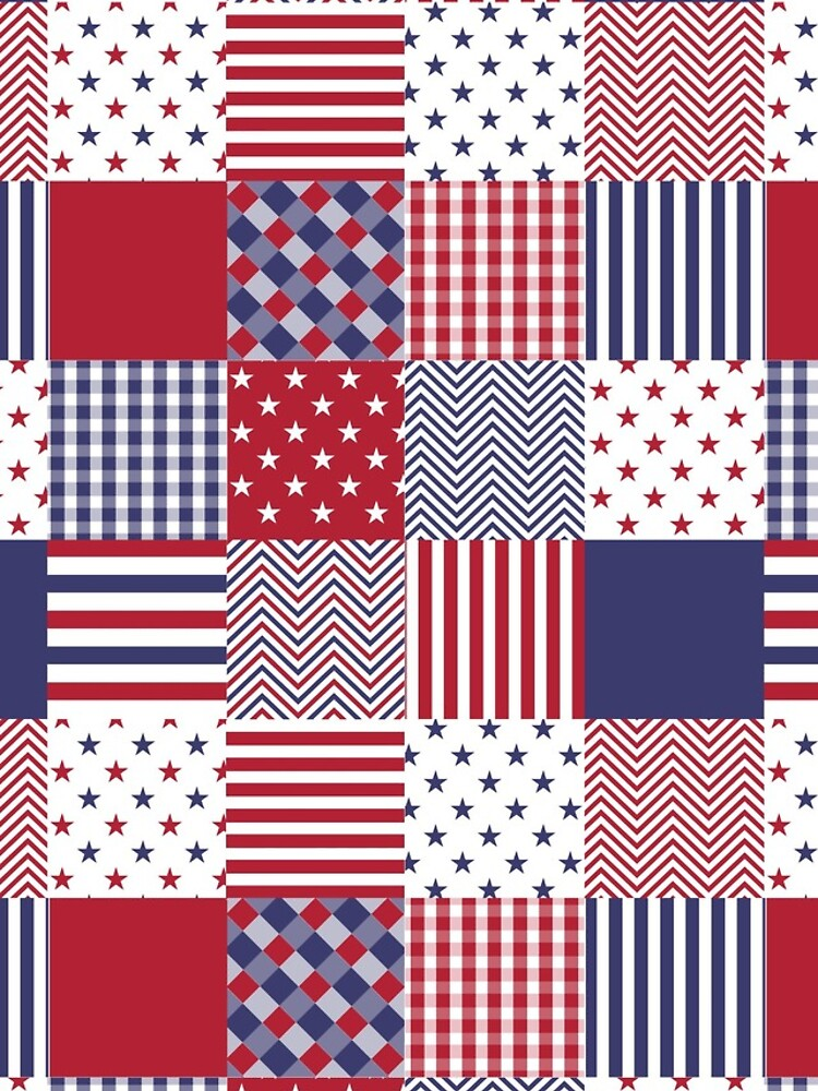 USA Americana Patchwork Red White & Blue Quilt by podartist