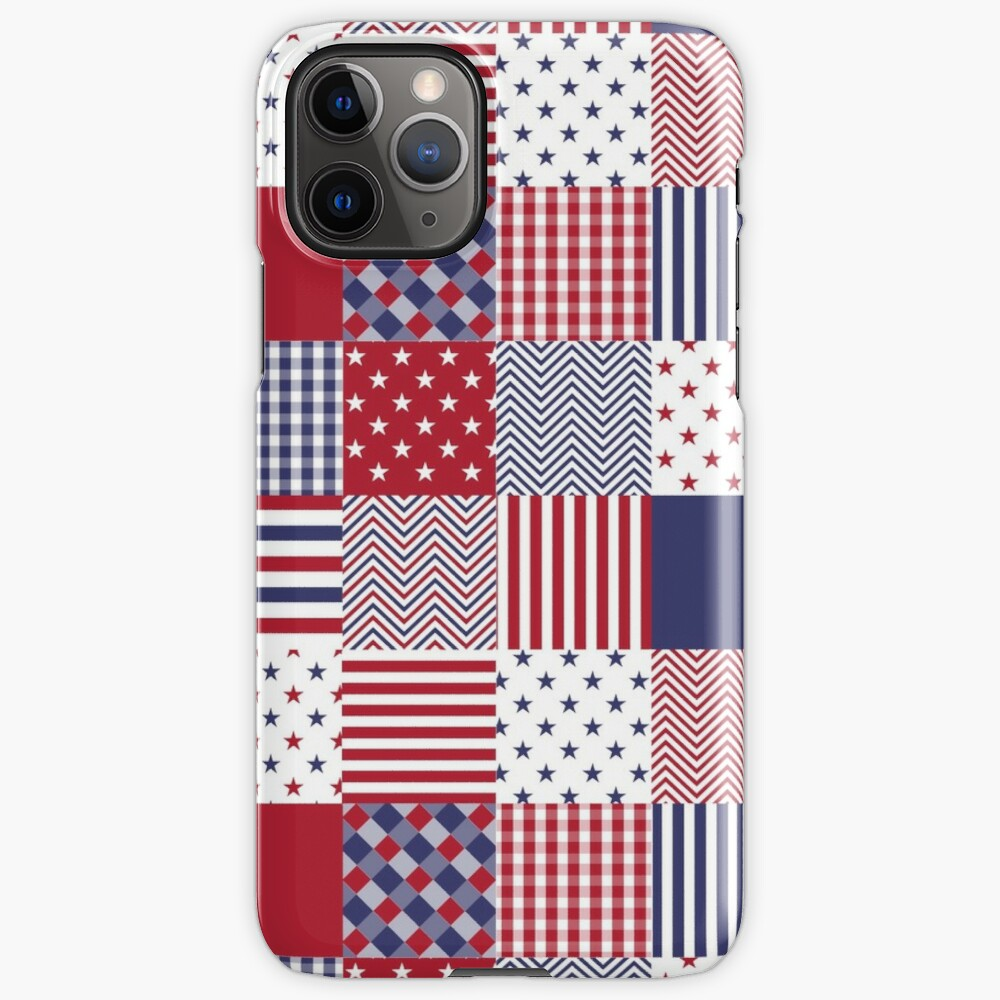 USA Americana Patchwork Red White & Blue Quilt iPhone Case & Cover