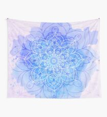 Blue Watercolor Mandala Wall Tapestry