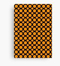 Orange Polka Dots On Black Background Canvas Print