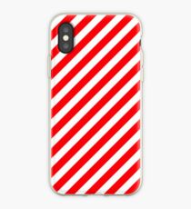 Christmas Red & White Candy Cane Diagonal Stripe iPhone Case