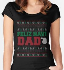 Feliz Navi Dad Ugly Christmas Sweater Design Women's Fitted Scoop T-Shirt