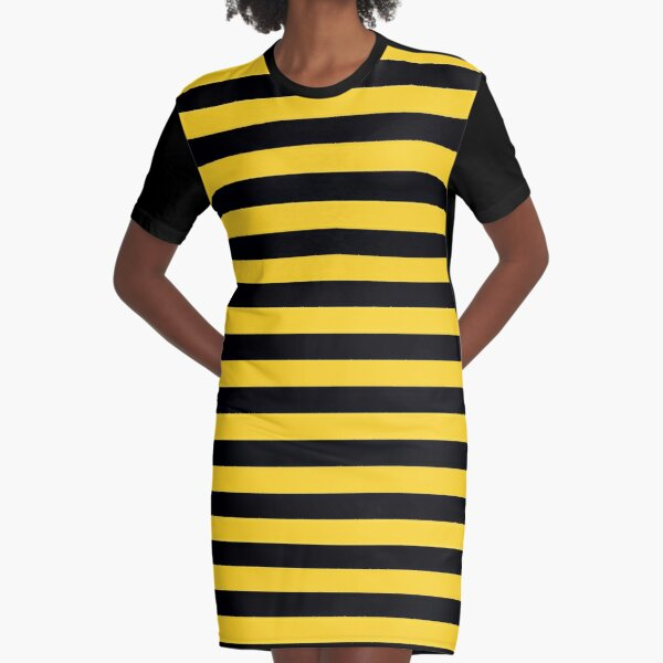 Yellow and Black Honey Bee Stripes Graphic T-Shirt Dress