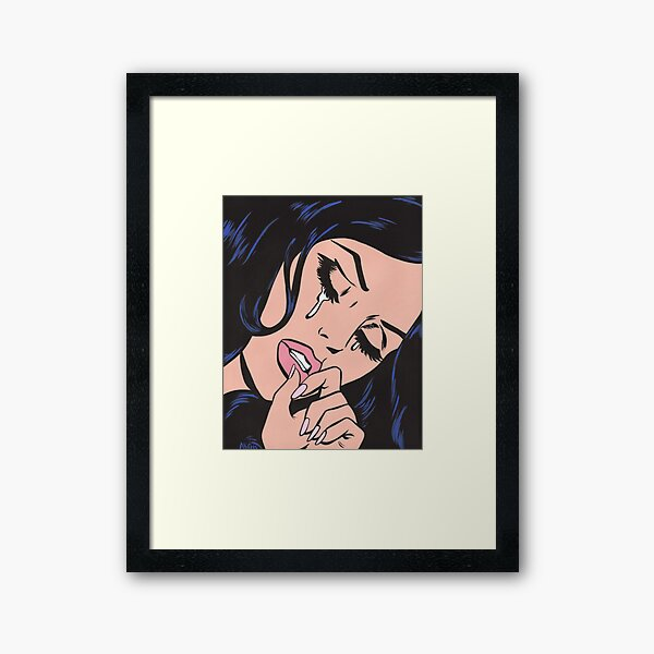 Black Hair Crying Comic Girl Framed Art Print
