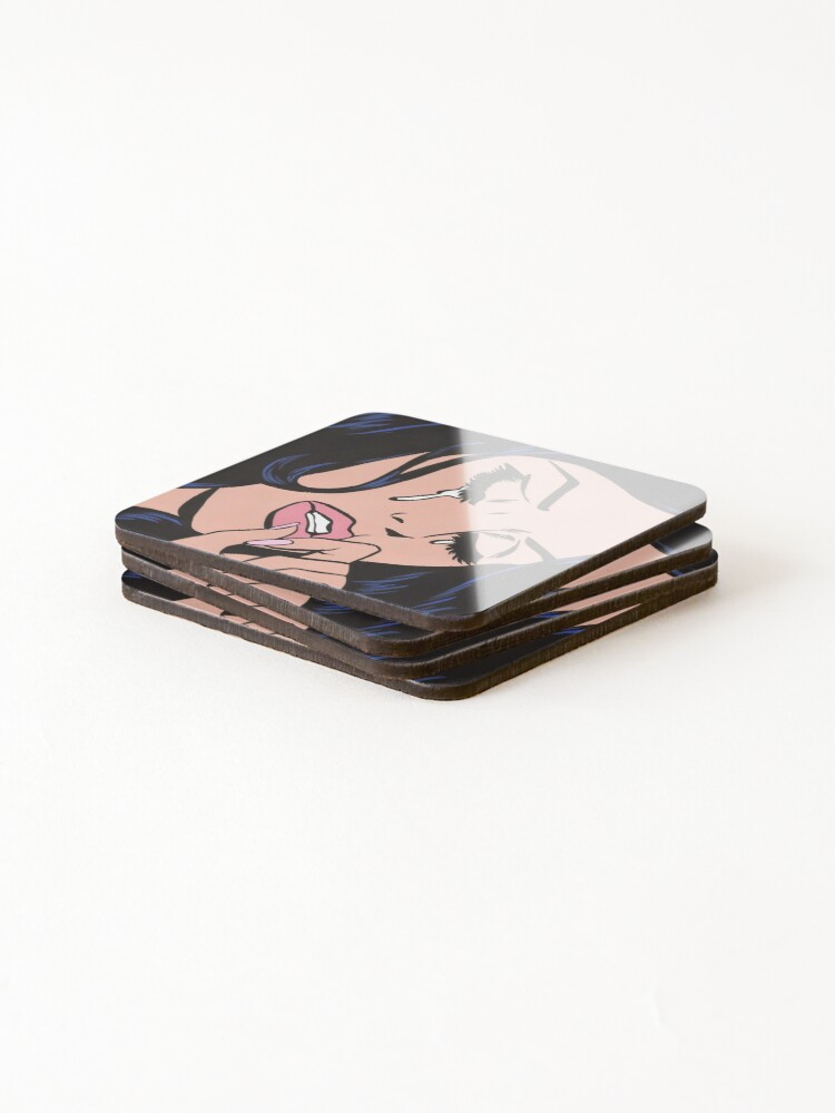 Alternate view of Black Hair Crying Comic Girl Coasters (Set of 4)