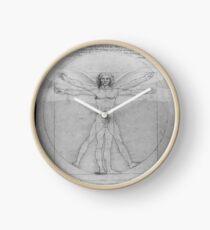 Leonardo da Vinci Vitruvian Man Pen on Paper with Angel Wings Clock