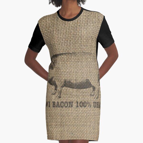 USA Bacon Vintage Natural Beige Burlap Sack Graphic T-Shirt Dress
