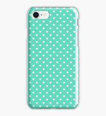 White Polkadot Hearts on Tiffany Aqua Blue  iPhone Case/Skin