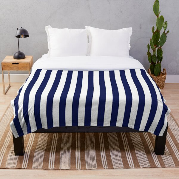 Classic Navy Blue and White Large Vertical Cabana Tent Stripe Throw Blanket