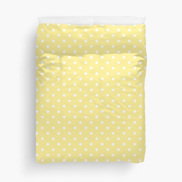 Buttermilk Yellow with White Polka Dots Spotted Pattern Duvet Cover