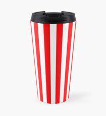 Large Christmas Red and White Cabana Tent Stripe Travel Mug