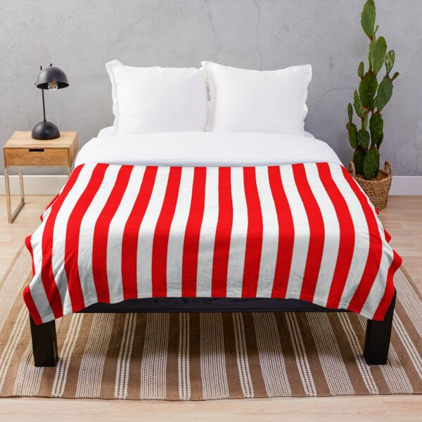 Large Christmas Red and White Cabana Tent Stripe Throw Blanket