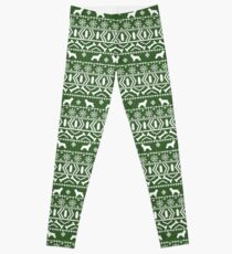 Cocker Spaniel fair isle christmas pattern dog breed holiday gifts black and white Leggings
