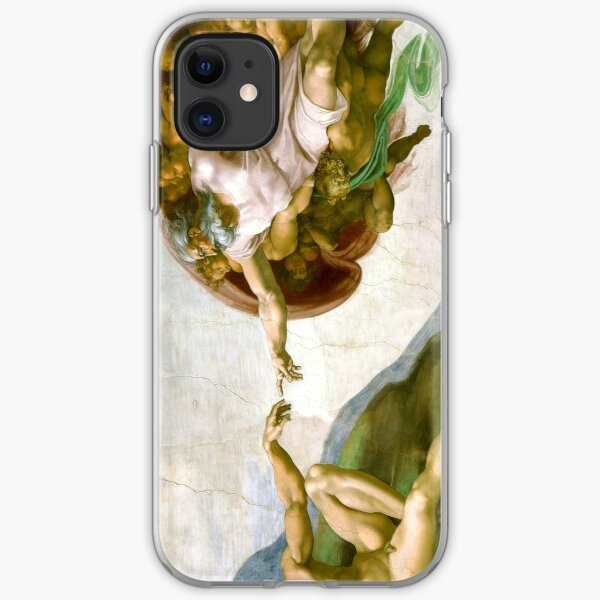 The Creation of Adam Painting by Michelangelo Sistine Chapel iPhone Soft Case