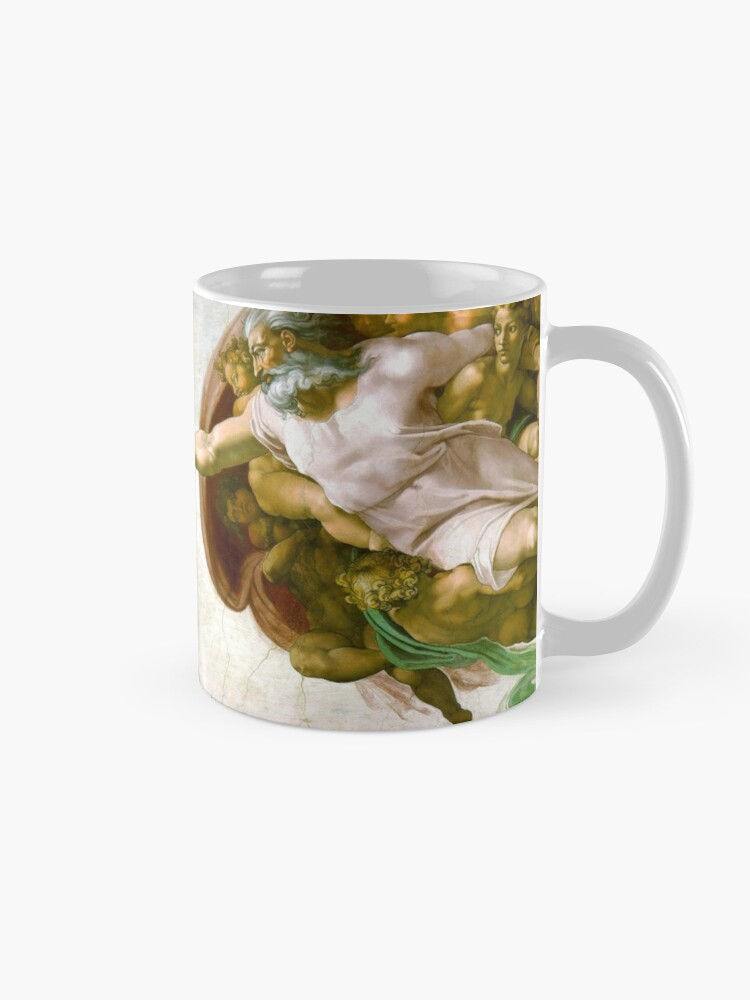 Alternate view of The Creation of Adam Painting by Michelangelo Sistine Chapel Mug
