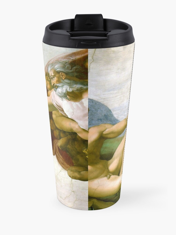 Alternate view of The Creation of Adam Painting by Michelangelo Sistine Chapel Travel Mug