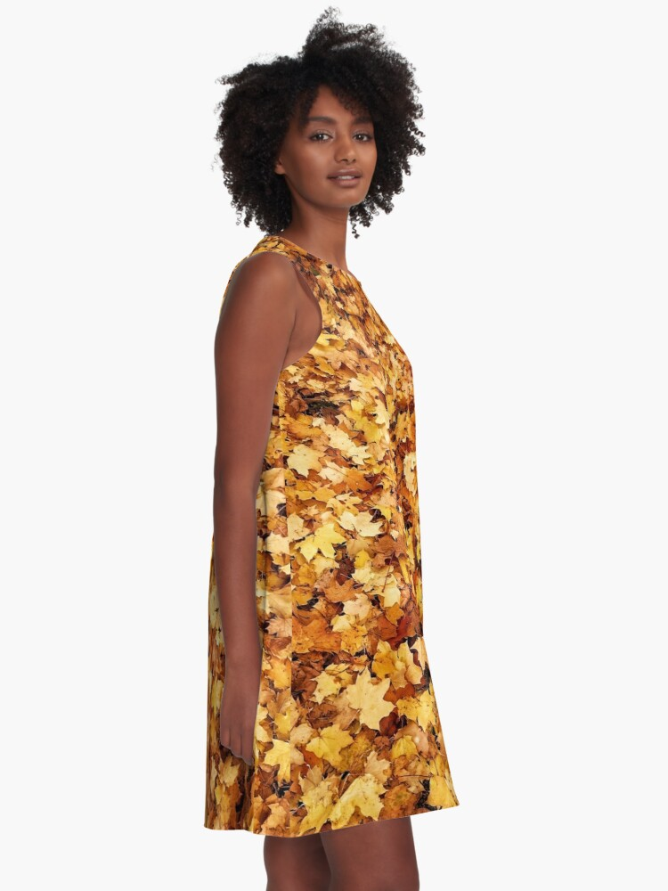 Alternate view of Gold yellow fall maple leaves A-Line Dress