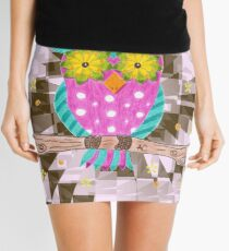 Fun psychedelic owl with flowery eyes Mini Skirt