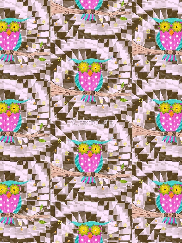 Fun psychedelic owl with flowery eyes by iCraftCafe