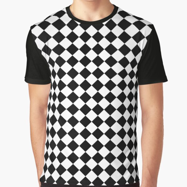 Classic Black and White Large Diamond Checker Board Pattern Graphic T-Shirt