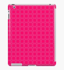 Vinilo o funda para iPad Fondo de neón rosa con estampado de patrón cuadrado blanco
