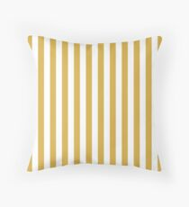 Large Mustard Yellow and White Cabana Tent Stripe Throw Pillow