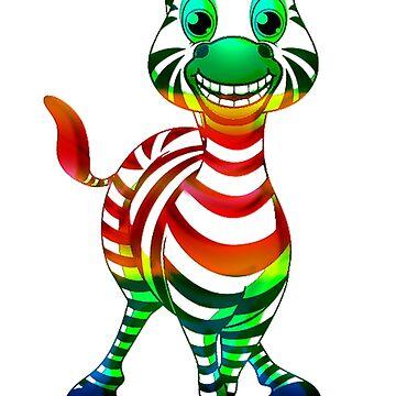 zebra rainbow by autrouvetout