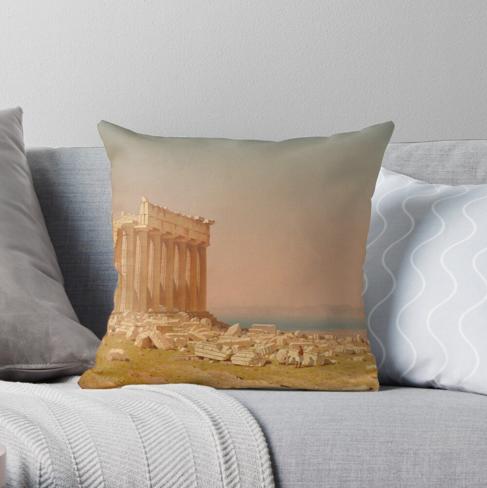 Ruins of the Parthenon Oil Painting by Sanford Robinson Gifford Throw Pillow