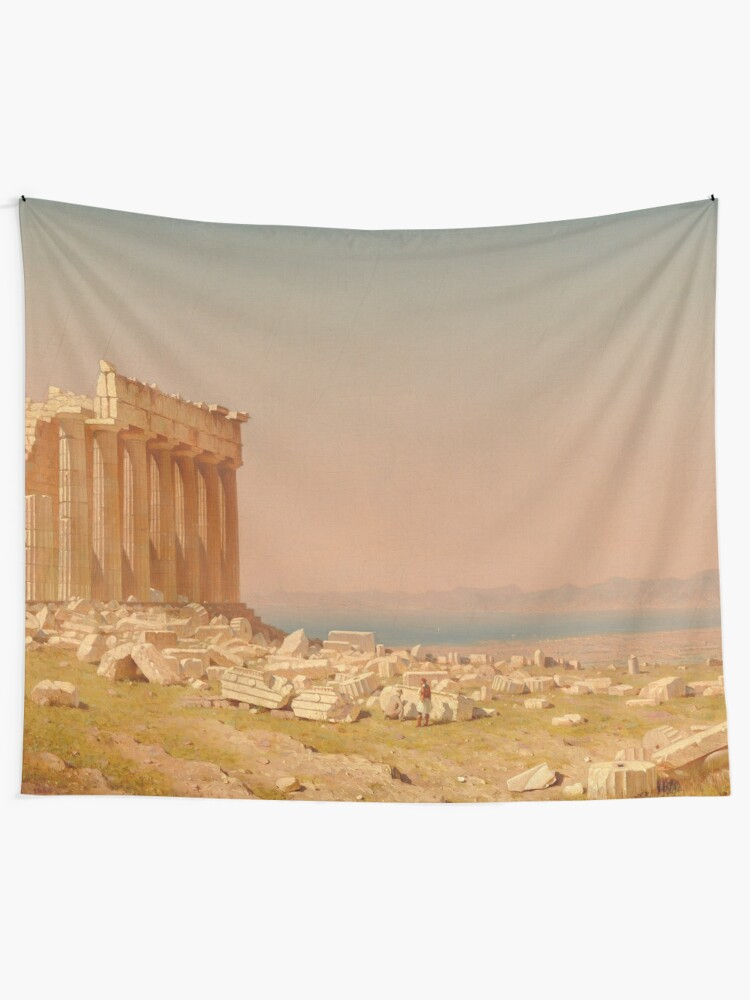 Alternate view of Ruins of the Parthenon Oil Painting by Sanford Robinson Gifford Tapestry