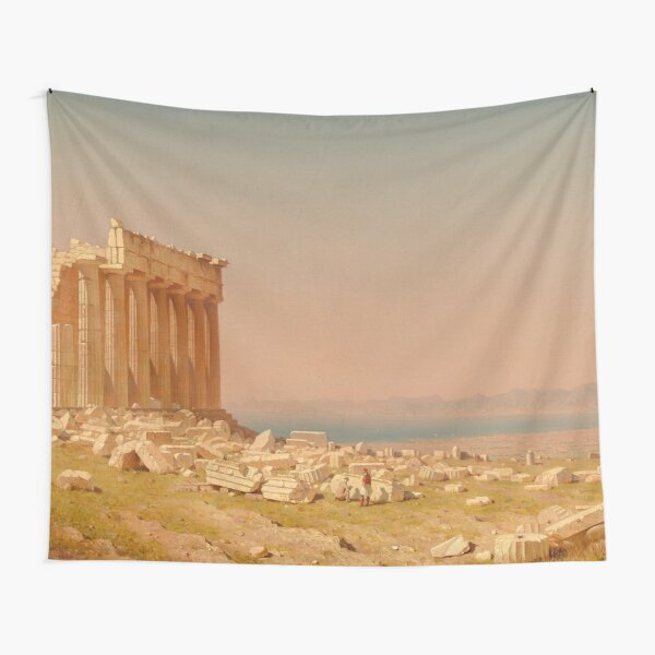 Ruins of the Parthenon Oil Painting by Sanford Robinson Gifford Tapestry
