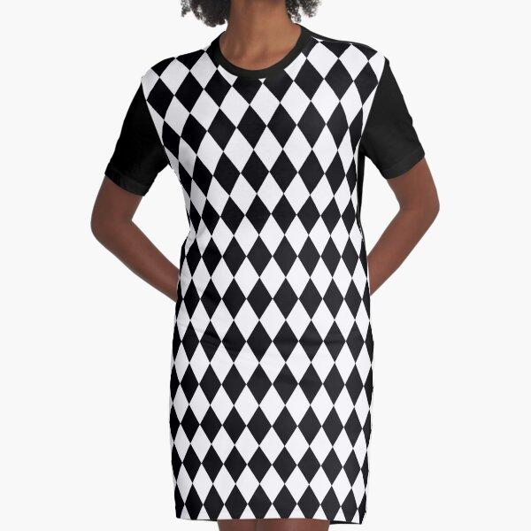 Classic Black and White Harlequin Diamond Check Graphic T-Shirt Dress