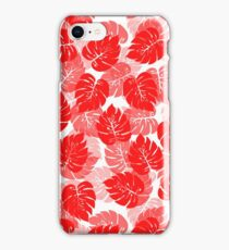 Big Monstera Tropical Leaf Hawaii Rain Forest Red on White iPhone Case/Skin