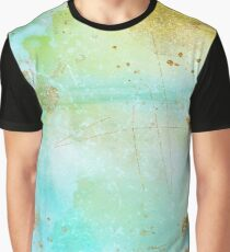 Modern Aqua, Yellow, and Gold Brush Strokes Abstract Graphic T-Shirt
