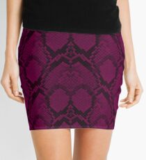 Hot Neon Pink and Black Python Snake Skin Reptile Scales Mini Skirt