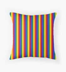 Mini Vertical Gay Pride Rainbow Beach Stripes Throw Pillow