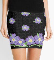 Forget-Me-Not flowers on black Mini Skirt