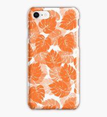 Big Monstera Tropical Leaf Hawaii Rain Forest Orange on White iPhone Case/Skin