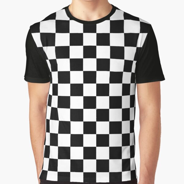 Large Black and White Check Graphic T-Shirt