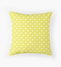 Citron Lemon-Lime and White Polka Dots Throw Pillow