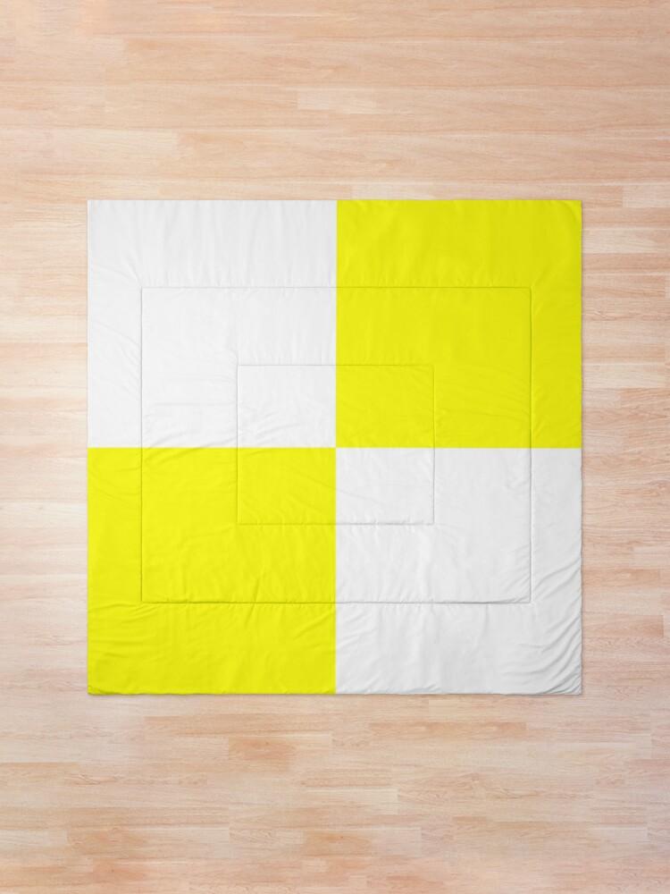 Alternate view of Bright Fluorescent Yellow Neon and White Checked Checkerboard Comforter