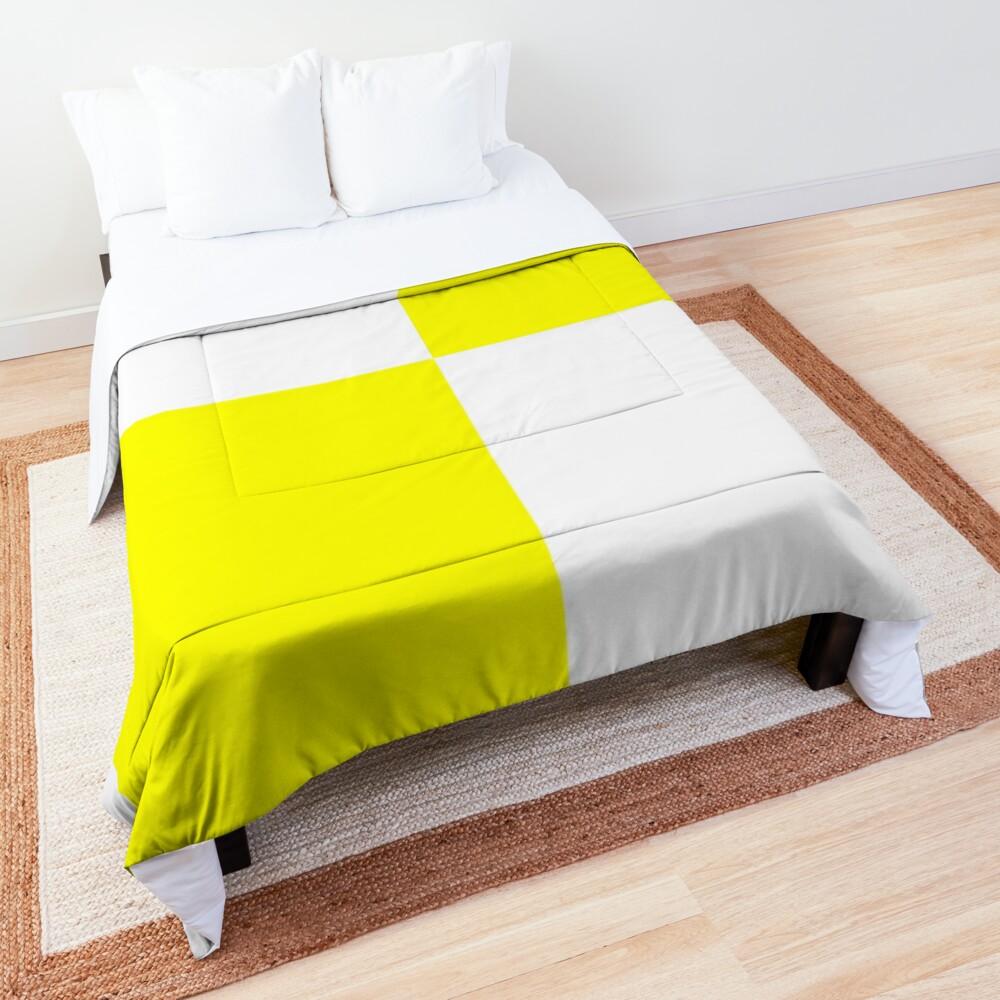 Bright Fluorescent Yellow Neon and White Checked Checkerboard Comforter