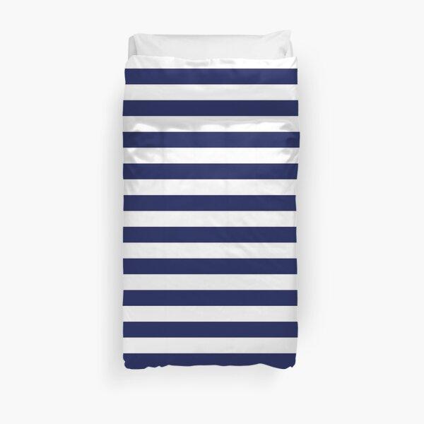 Classic Navy Blue and White Large Horizontal Cabana Tent Stripe Duvet Cover
