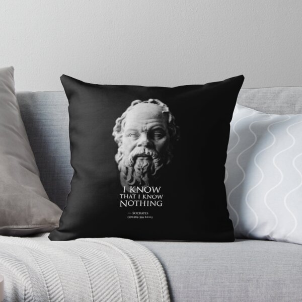 I know that I know nothing - Socrates Throw Pillow
