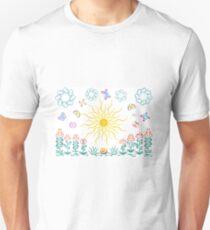 The sun, butterflies, flowers T-Shirt